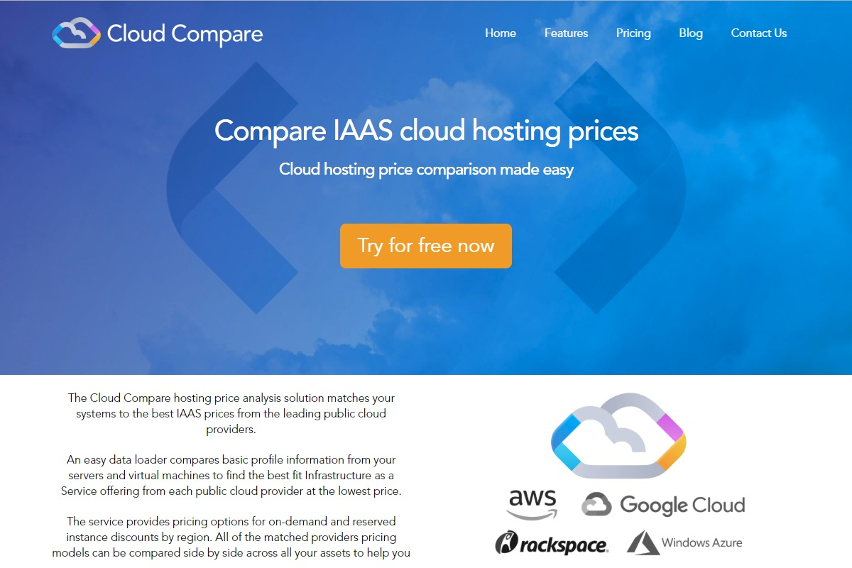 cloudcompare.io service launch landing page
